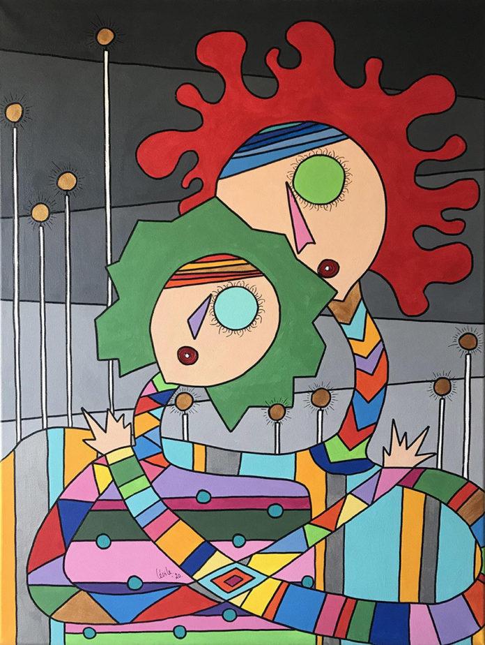 Cécile Balthazard, Je t'aime a la folie de tout mon coeur, 80x60cm, Acrylics on canvas