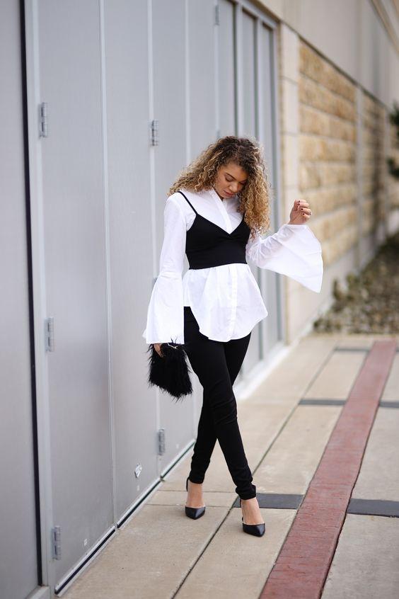 Layering λευκό πουκάμισο