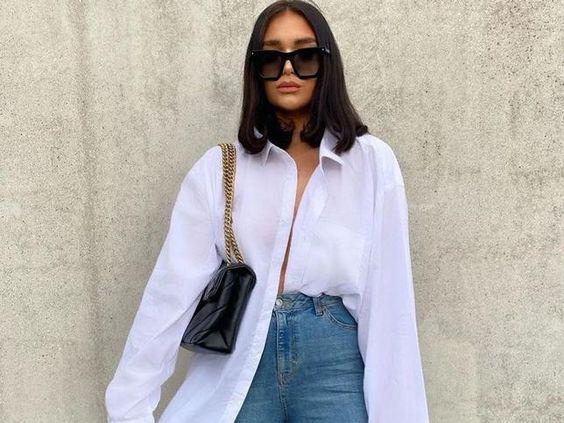 Λευκό oversized πουκάμισο